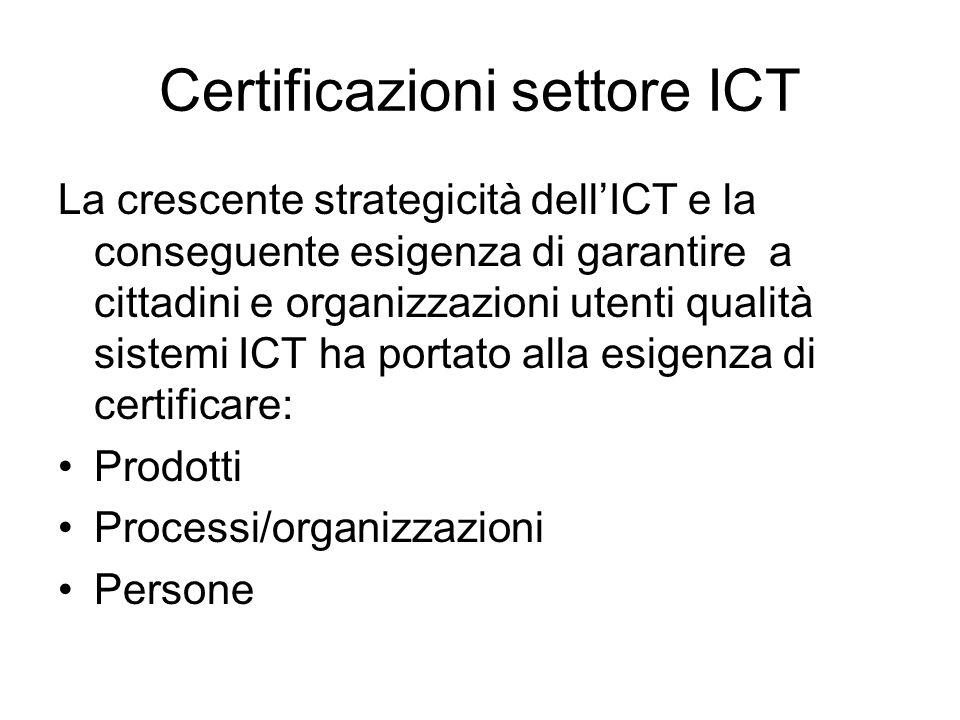 Certificazioni settore ICT La crescente strategicità dellICT e la conseguente esigenza di garantire a cittadini e organizzazioni utenti qualità sistemi ICT ha portato alla esigenza di certificare: Prodotti Processi/organizzazioni Persone