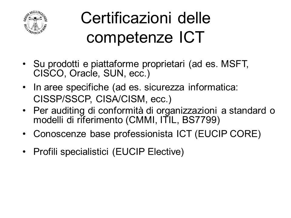 Certificazioni delle competenze ICT Su prodotti e piattaforme proprietari (ad es. MSFT, CISCO, Oracle, SUN, ecc.) In aree specifiche (ad es. sicurezza