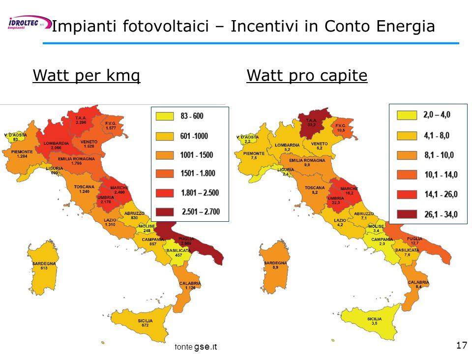 17 Impianti fotovoltaici – Incentivi in Conto Energia Watt per kmq fonte gse.it Watt pro capite