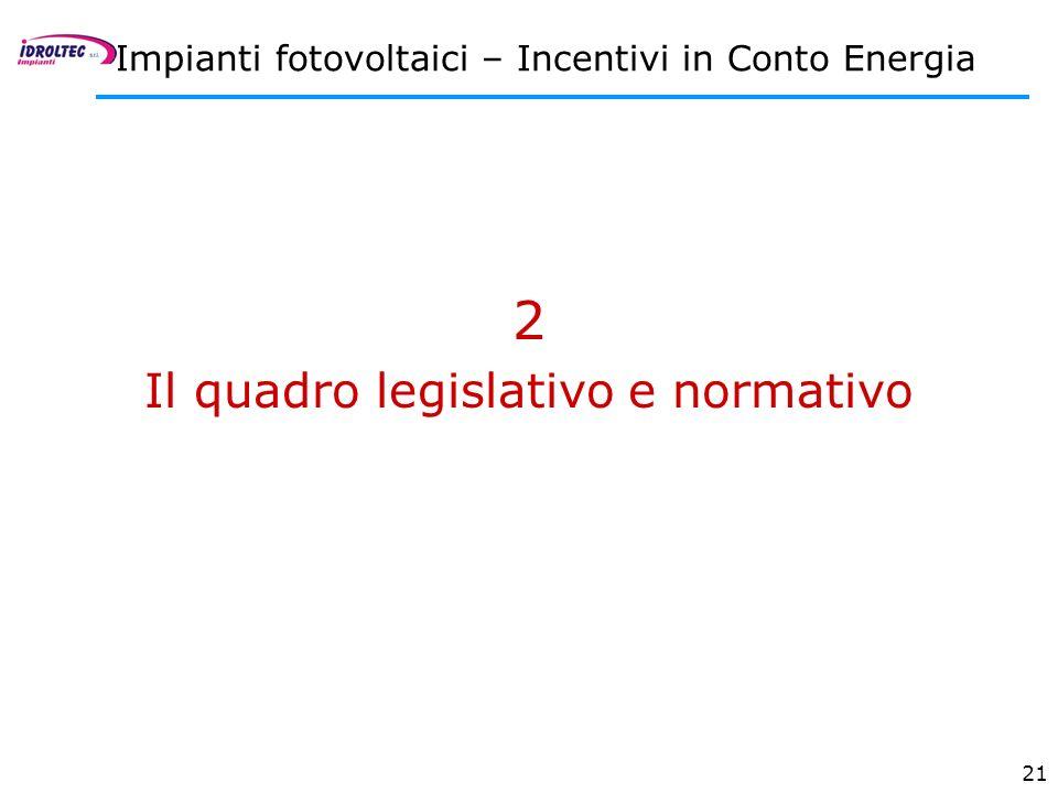 21 2 Il quadro legislativo e normativo Impianti fotovoltaici – Incentivi in Conto Energia