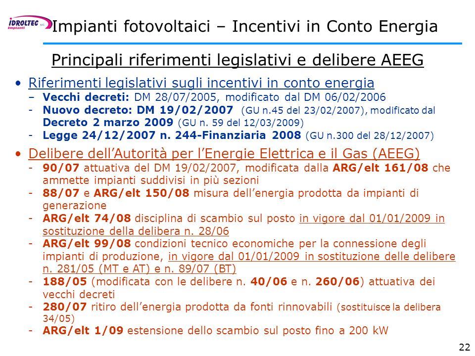 22 Riferimenti legislativi sugli incentivi in conto energia –Vecchi decreti: DM 28/07/2005, modificato dal DM 06/02/2006 -Nuovo decreto: DM 19/02/2007