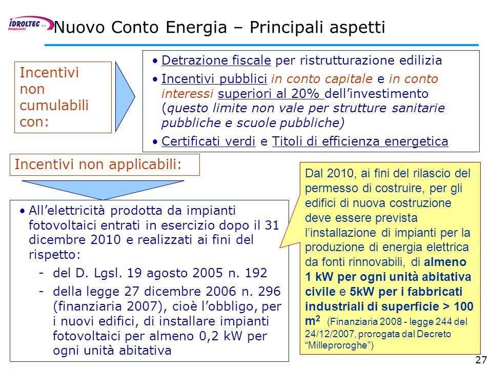27 Nuovo Conto Energia – Principali aspetti Incentivi non cumulabili con: Detrazione fiscale per ristrutturazione edilizia Incentivi pubblici in conto