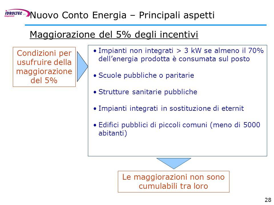 28 Maggiorazione del 5% degli incentivi Nuovo Conto Energia – Principali aspetti Condizioni per usufruire della maggiorazione del 5% Impianti non inte