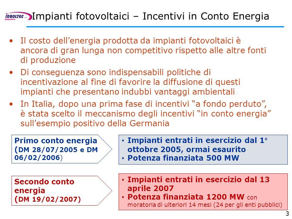 3 Il costo dellenergia prodotta da impianti fotovoltaici è ancora di gran lunga non competitivo rispetto alle altre fonti di produzione Di conseguenza