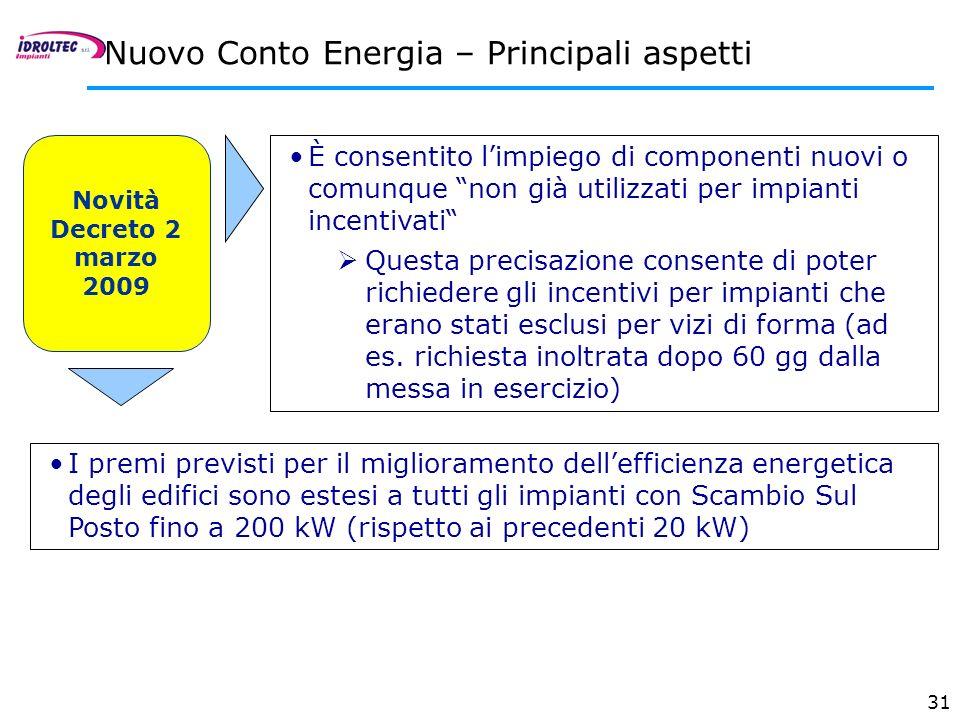 31 Nuovo Conto Energia – Principali aspetti Novità Decreto 2 marzo 2009 È consentito limpiego di componenti nuovi o comunque non già utilizzati per im