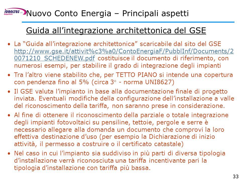 33 Guida allintegrazione architettonica del GSE La Guida allintegrazione architettonica scaricabile dal sito del GSE http://www.gse.it/attivit%c3%a0/C