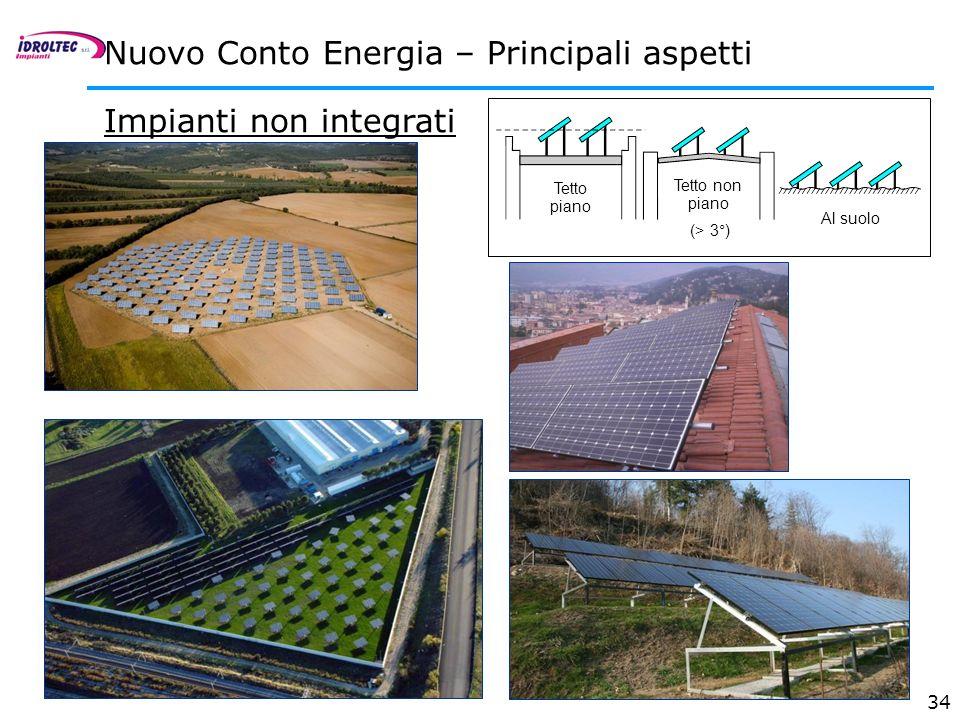 34 Impianti non integrati Nuovo Conto Energia – Principali aspetti Tetto non piano (> 3°) Tetto piano Al suolo