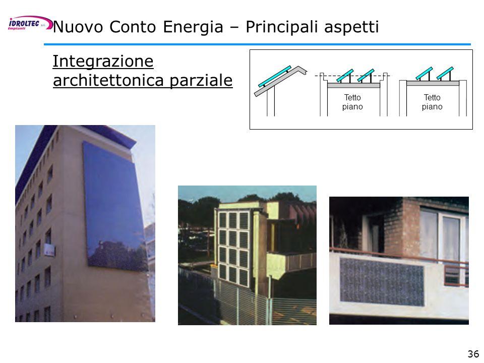 36 Integrazione architettonica parziale Nuovo Conto Energia – Principali aspetti Tetto piano