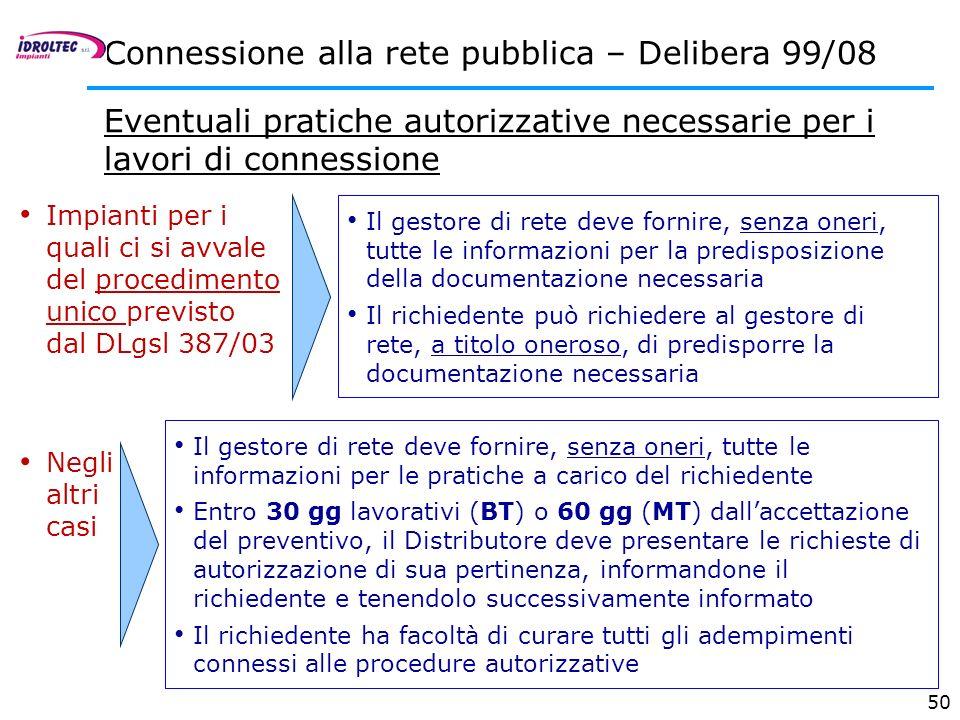 50 Connessione alla rete pubblica – Delibera 99/08 Eventuali pratiche autorizzative necessarie per i lavori di connessione Il gestore di rete deve for
