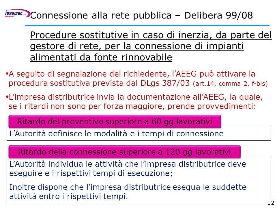 52 Connessione alla rete pubblica – Delibera 99/08 Procedure sostitutive in caso di inerzia, da parte del gestore di rete, per la connessione di impia