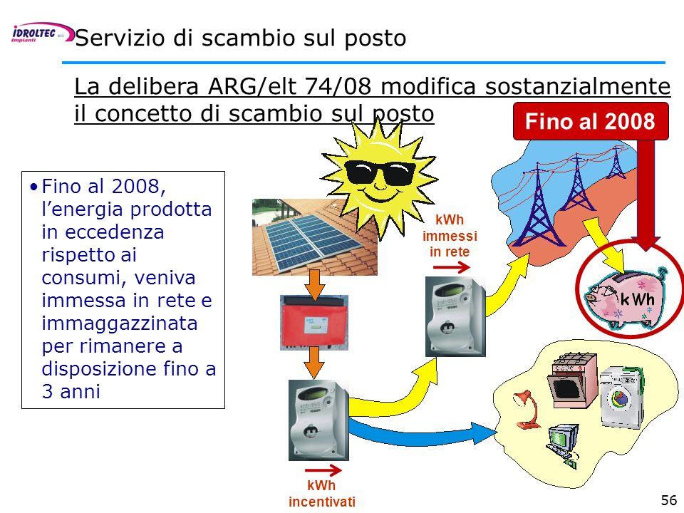 56 Servizio di scambio sul posto La delibera ARG/elt 74/08 modifica sostanzialmente il concetto di scambio sul posto nuova kWh incentivati kWh immessi