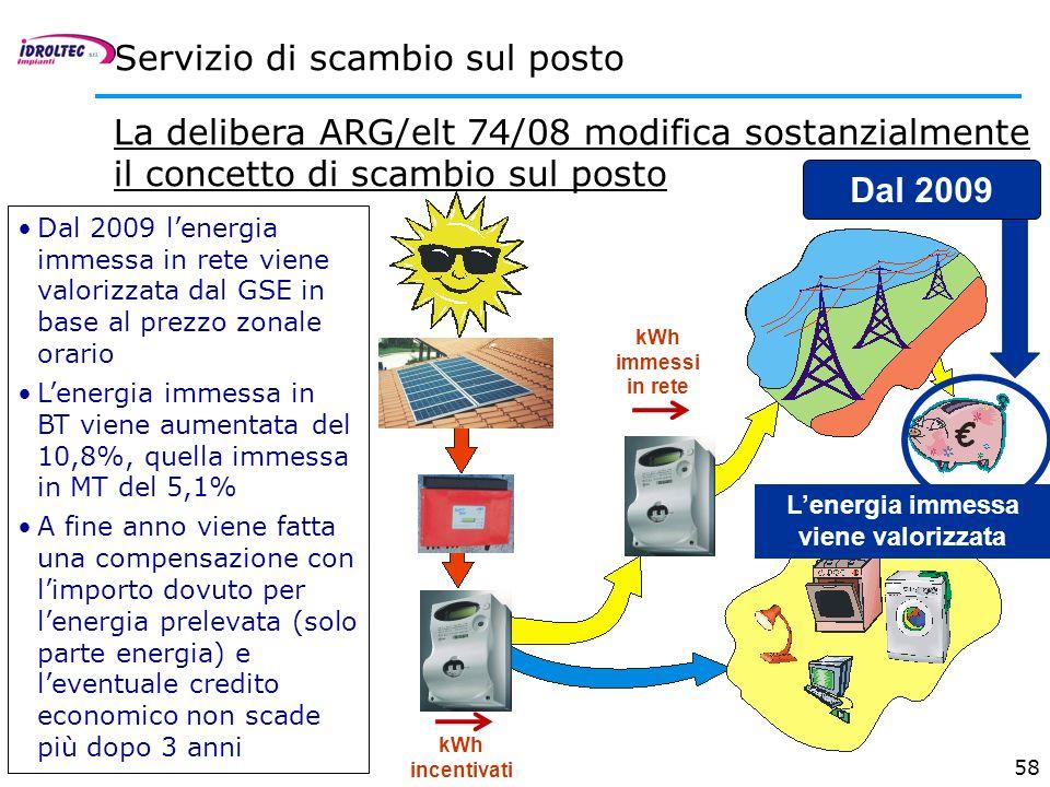 58 Servizio di scambio sul posto La delibera ARG/elt 74/08 modifica sostanzialmente il concetto di scambio sul posto nuova Dal 2009 lenergia immessa i