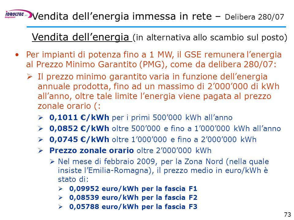 73 Per impianti di potenza fino a 1 MW, il GSE remunera lenergia al Prezzo Minimo Garantito (PMG), come da delibera 280/07: Il prezzo minimo garantito