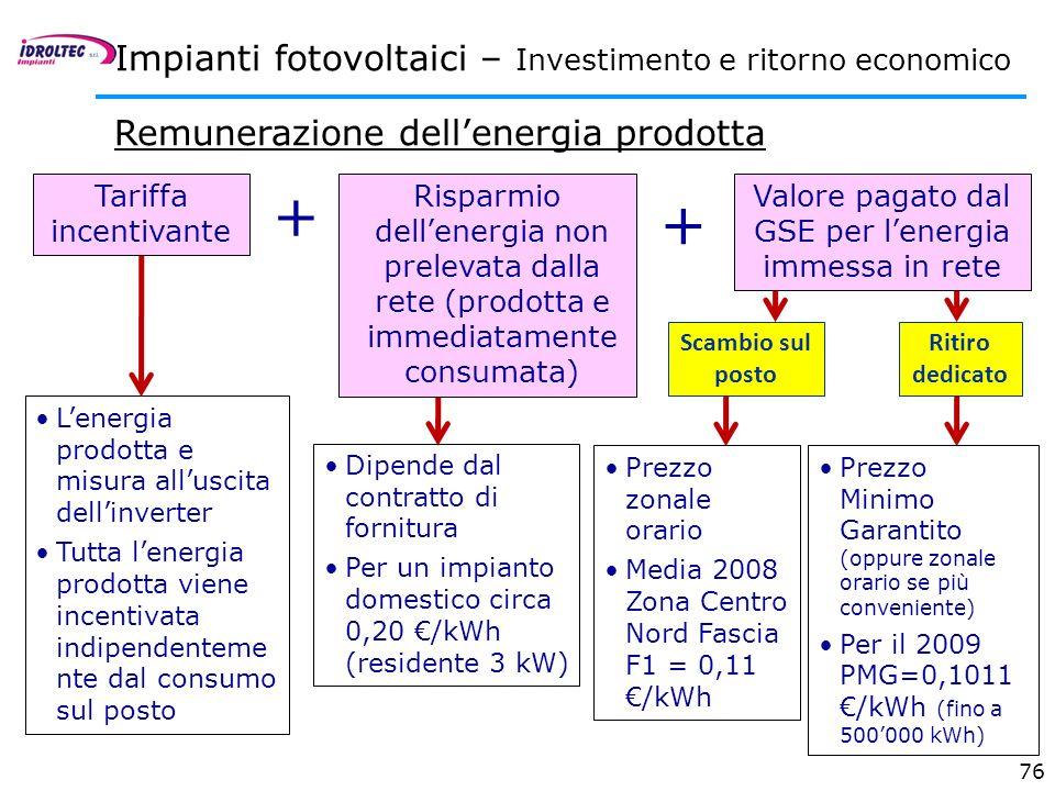 76 Risparmio dellenergia non prelevata dalla rete (prodotta e immediatamente consumata) + Scambio sul posto Dipende dal contratto di fornitura Per un