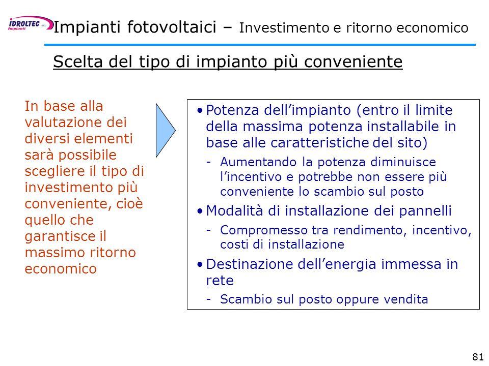 81 In base alla valutazione dei diversi elementi sarà possibile scegliere il tipo di investimento più conveniente, cioè quello che garantisce il massi