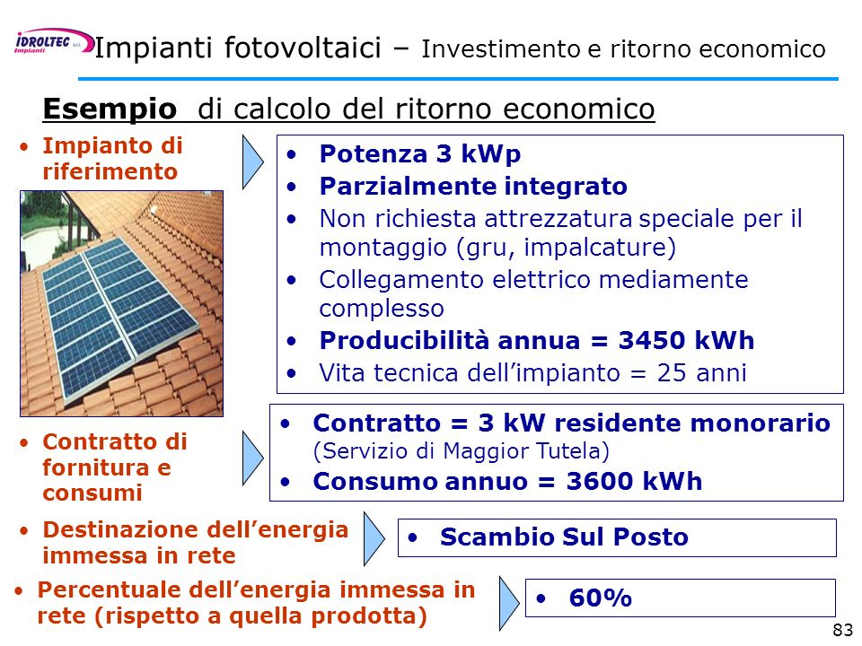 83 Impianto di riferimento Potenza 3 kWp Parzialmente integrato Non richiesta attrezzatura speciale per il montaggio (gru, impalcature) Collegamento e