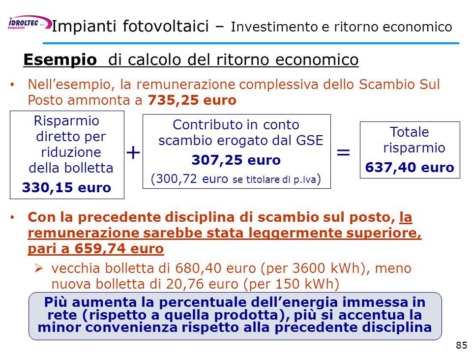 85 Impianti fotovoltaici – Investimento e ritorno economico Esempio di calcolo del ritorno economico Nellesempio, la remunerazione complessiva dello S