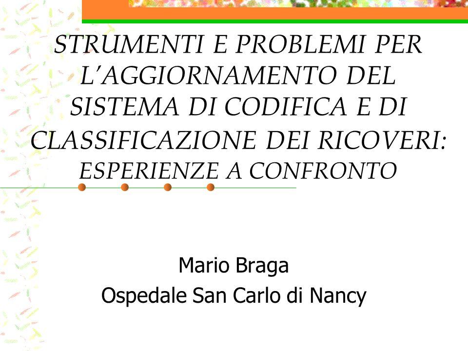 STRUMENTI E PROBLEMI PER LAGGIORNAMENTO DEL SISTEMA DI CODIFICA E DI CLASSIFICAZIONE DEI RICOVERI: ESPERIENZE A CONFRONTO Mario Braga Ospedale San Carlo di Nancy