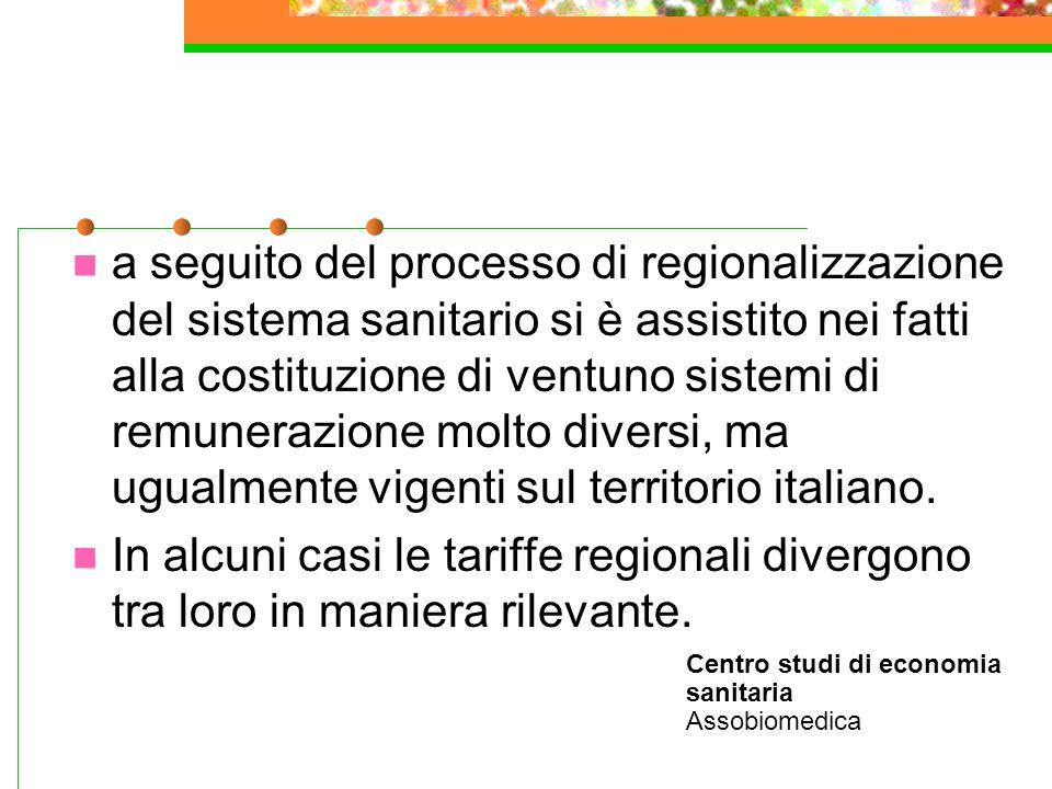 a seguito del processo di regionalizzazione del sistema sanitario si è assistito nei fatti alla costituzione di ventuno sistemi di remunerazione molto diversi, ma ugualmente vigenti sul territorio italiano.