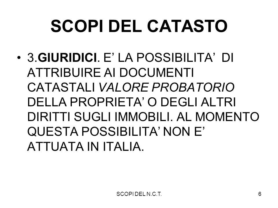 TIPI DI CATASTO - N.C.T.7 TIPI DI CATASTO DESCRITTIVO / GEOMETRICO; PER PROPRIETA / PARTICELLARE / PER MASSE DI COLTURA; PROBATORIO / NON PROBATORIO; A ESTIMO DIRETTO / INDIRETTO.