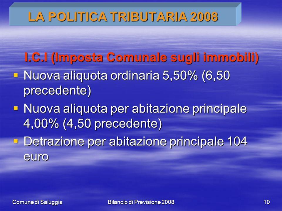 Comune di SaluggiaBilancio di Previsione 200810 LA POLITICA TRIBUTARIA 2008 I.C.I (Imposta Comunale sugli immobili) Nuova aliquota ordinaria 5,50% (6,