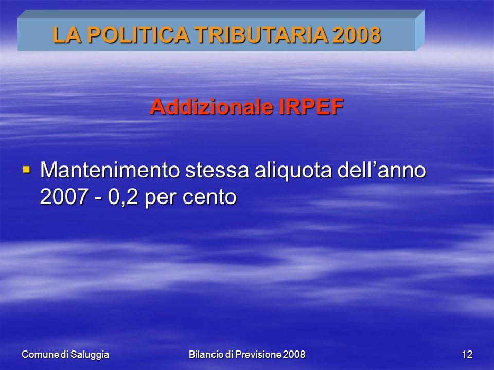 Comune di SaluggiaBilancio di Previsione 200812 Addizionale IRPEF Mantenimento stessa aliquota dellanno 2007 - 0,2 per cento Mantenimento stessa aliquota dellanno 2007 - 0,2 per cento LA POLITICA TRIBUTARIA 2008