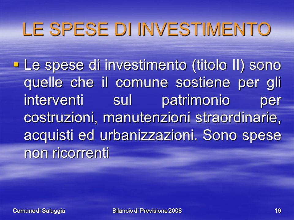 Comune di SaluggiaBilancio di Previsione 200819 LE SPESE DI INVESTIMENTO Le spese di investimento (titolo II) sono quelle che il comune sostiene per gli interventi sul patrimonio per costruzioni, manutenzioni straordinarie, acquisti ed urbanizzazioni.