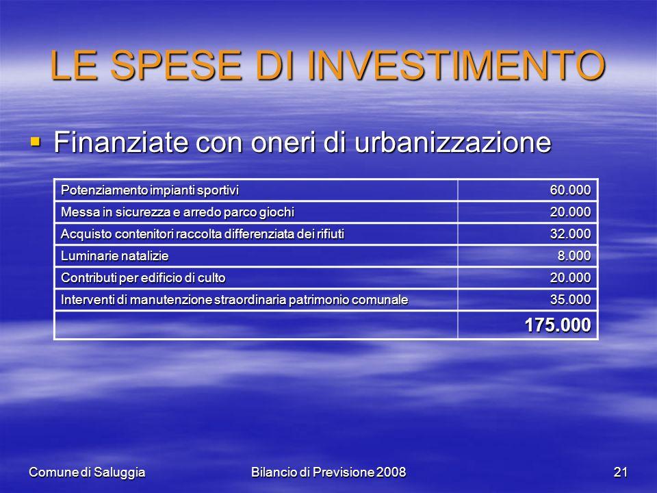 Comune di SaluggiaBilancio di Previsione 200821 LE SPESE DI INVESTIMENTO Finanziate con oneri di urbanizzazione Finanziate con oneri di urbanizzazione