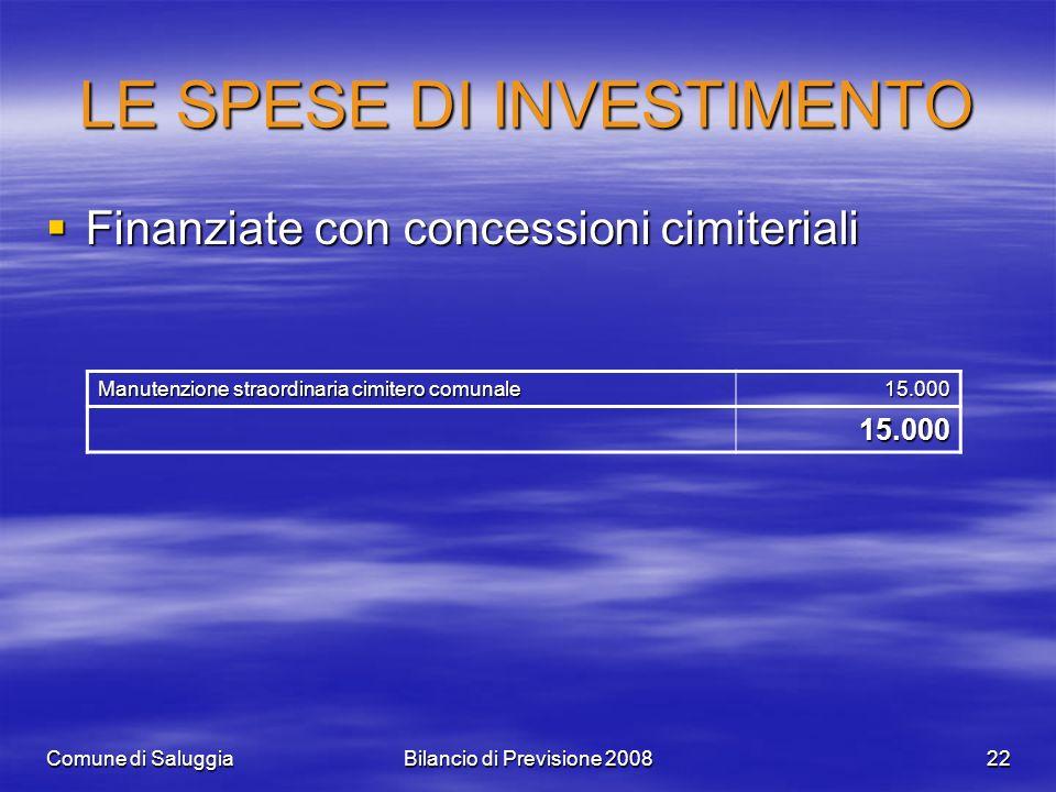 Comune di SaluggiaBilancio di Previsione 200822 LE SPESE DI INVESTIMENTO Finanziate con concessioni cimiteriali Finanziate con concessioni cimiteriali