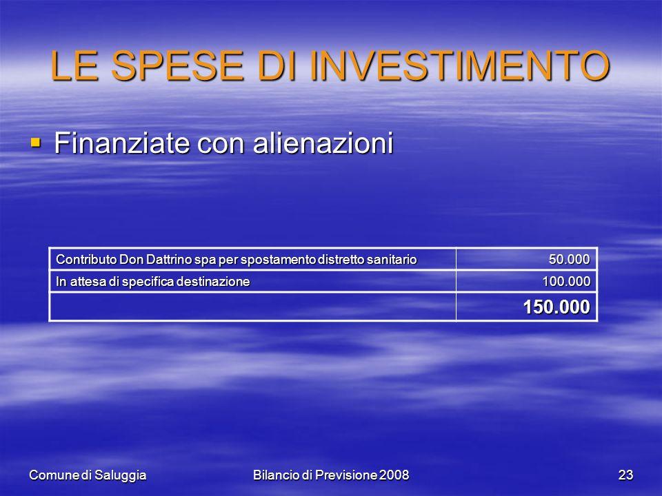 Comune di SaluggiaBilancio di Previsione 200823 LE SPESE DI INVESTIMENTO Finanziate con alienazioni Finanziate con alienazioni Contributo Don Dattrino