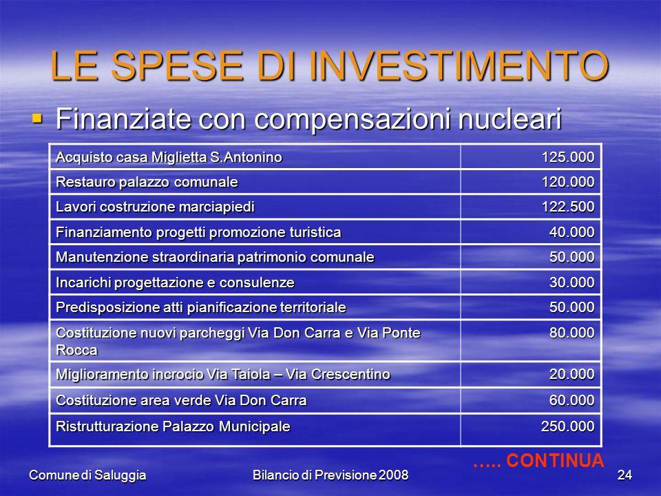 Comune di SaluggiaBilancio di Previsione 200824 LE SPESE DI INVESTIMENTO Finanziate con compensazioni nucleari Finanziate con compensazioni nucleari A