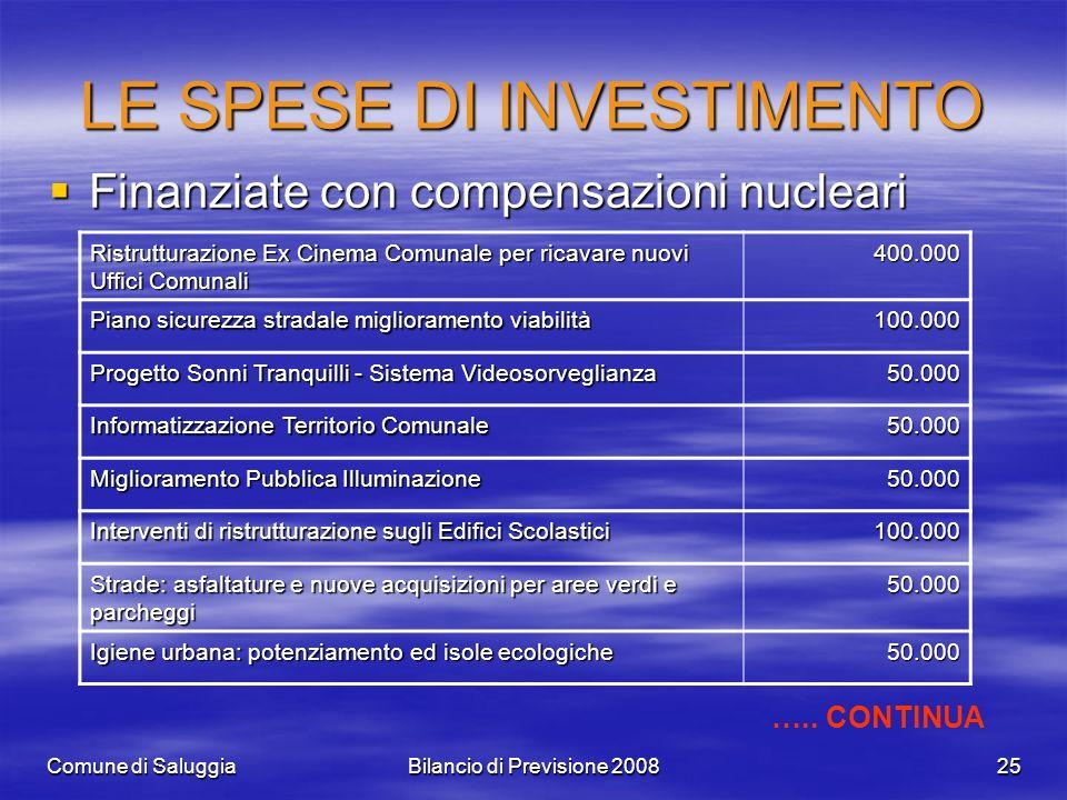Comune di SaluggiaBilancio di Previsione 200825 LE SPESE DI INVESTIMENTO Finanziate con compensazioni nucleari Finanziate con compensazioni nucleari R