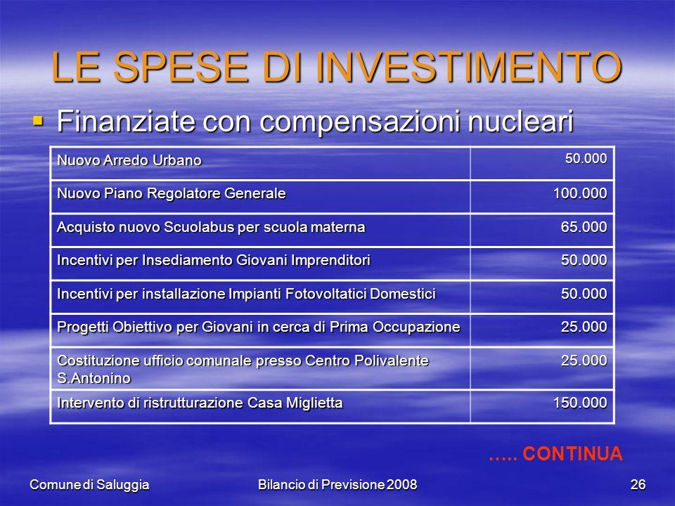 Comune di SaluggiaBilancio di Previsione 200826 LE SPESE DI INVESTIMENTO Finanziate con compensazioni nucleari Finanziate con compensazioni nucleari N