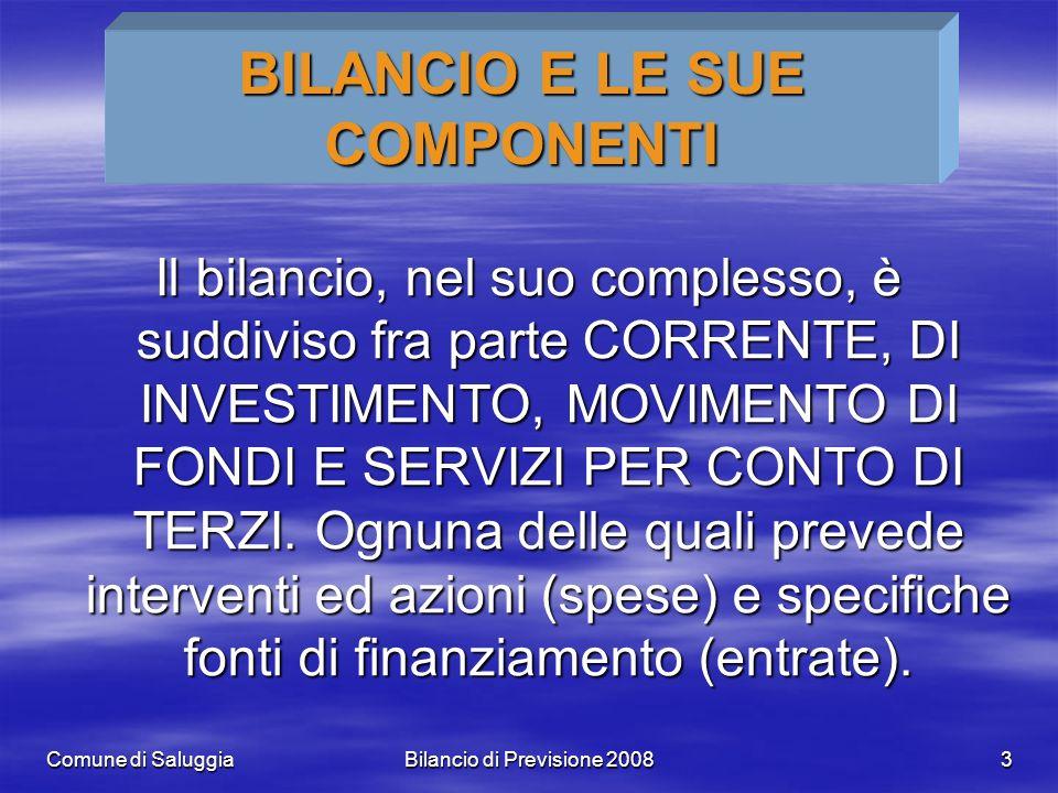 Comune di SaluggiaBilancio di Previsione 20083 BILANCIO E LE SUE COMPONENTI Il bilancio, nel suo complesso, è suddiviso fra parte CORRENTE, DI INVESTIMENTO, MOVIMENTO DI FONDI E SERVIZI PER CONTO DI TERZI.