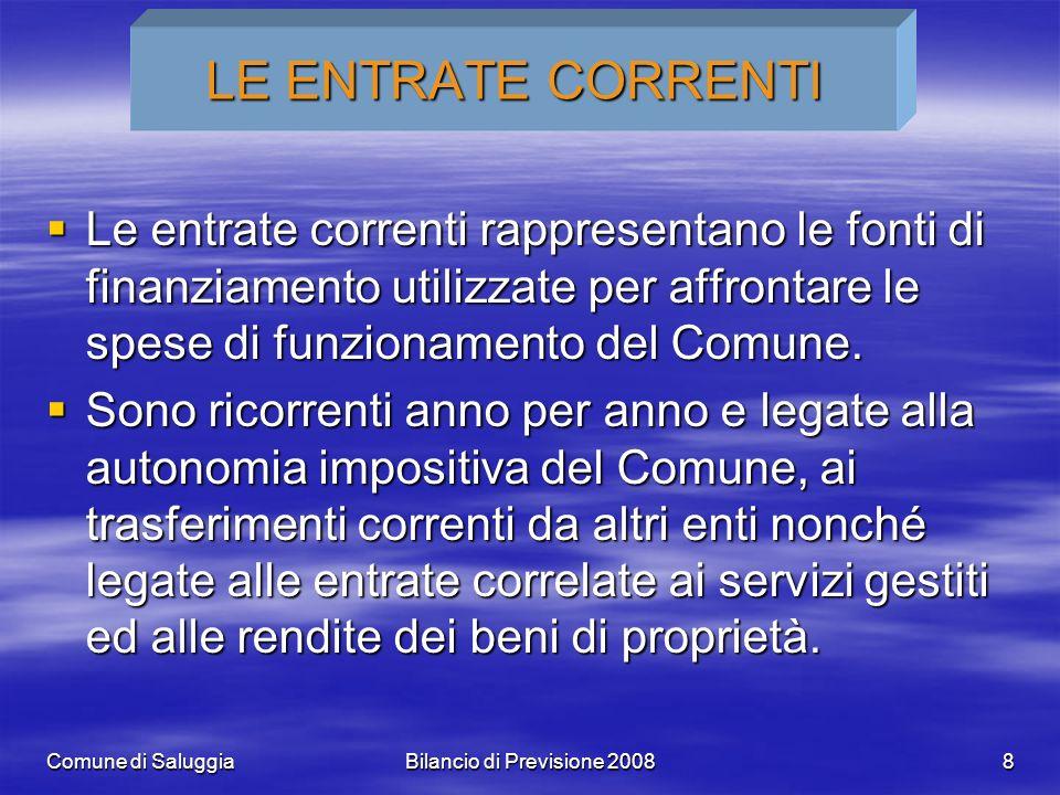 Comune di SaluggiaBilancio di Previsione 20088 LE ENTRATE CORRENTI Le entrate correnti rappresentano le fonti di finanziamento utilizzate per affrontare le spese di funzionamento del Comune.