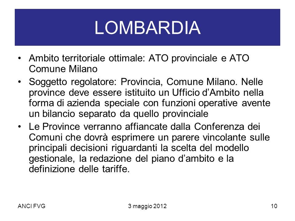 ANCI FVG3 maggio 201210 LOMBARDIA Ambito territoriale ottimale: ATO provinciale e ATO Comune Milano Soggetto regolatore: Provincia, Comune Milano.