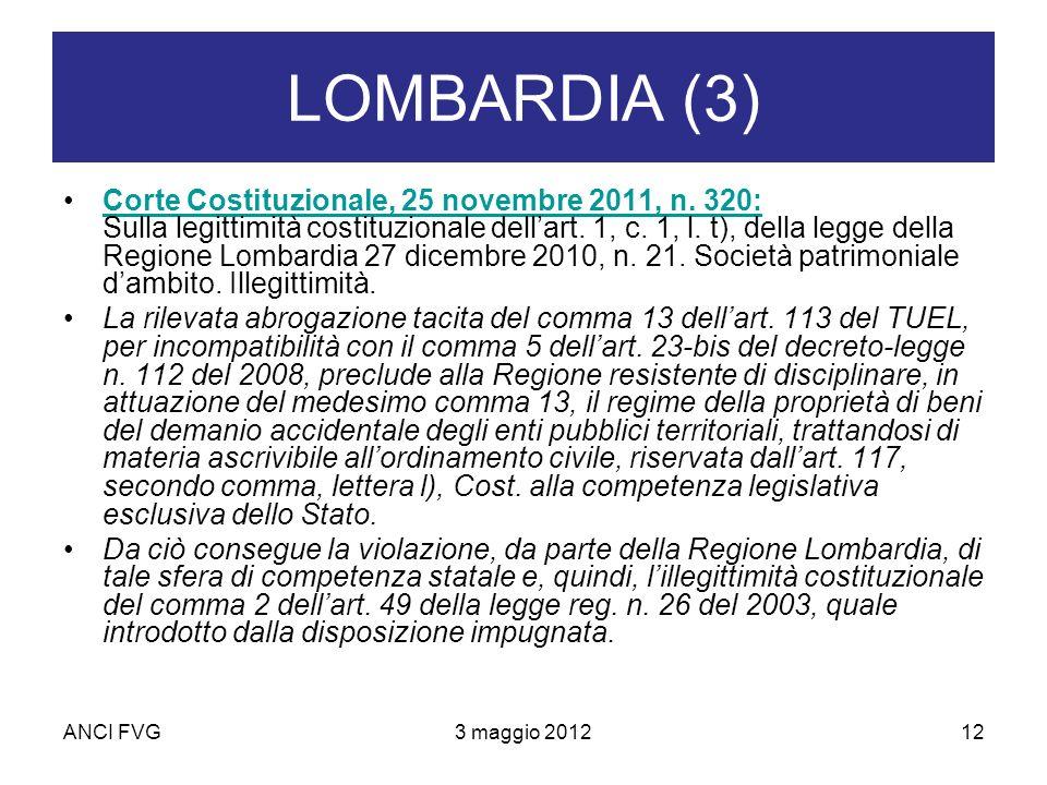 ANCI FVG3 maggio 201212 LOMBARDIA (3) Corte Costituzionale, 25 novembre 2011, n.