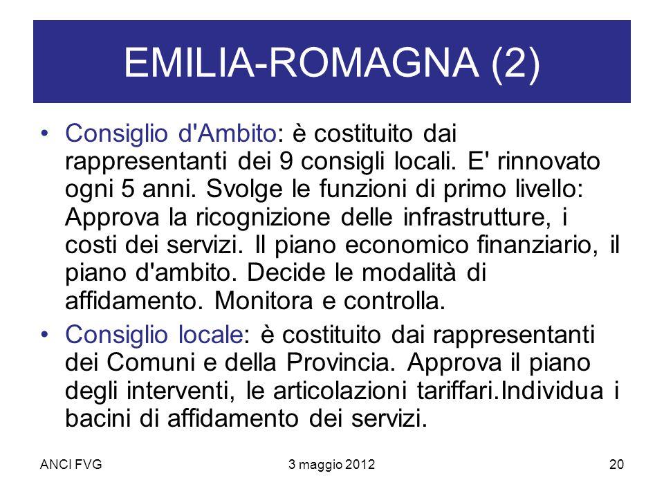 ANCI FVG3 maggio 201220 EMILIA-ROMAGNA (2) Consiglio d Ambito: è costituito dai rappresentanti dei 9 consigli locali.