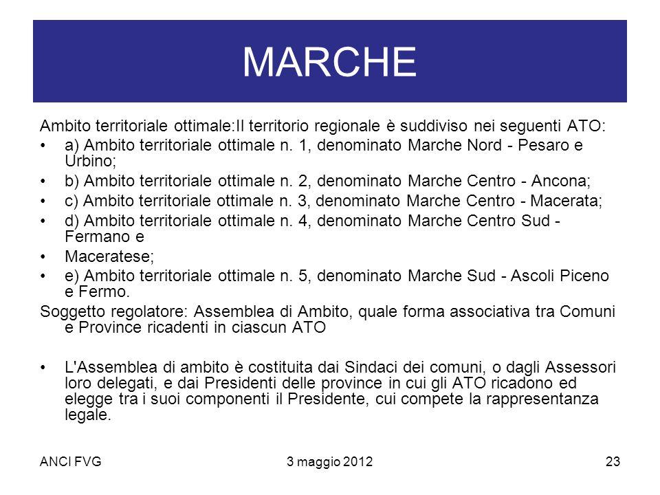 ANCI FVG3 maggio 201223 MARCHE Ambito territoriale ottimale:Il territorio regionale è suddiviso nei seguenti ATO: a) Ambito territoriale ottimale n.