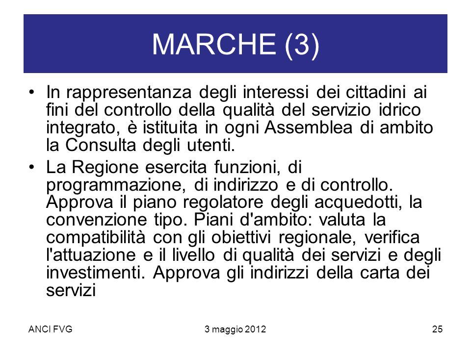 ANCI FVG3 maggio 201225 MARCHE (3) In rappresentanza degli interessi dei cittadini ai fini del controllo della qualità del servizio idrico integrato, è istituita in ogni Assemblea di ambito la Consulta degli utenti.