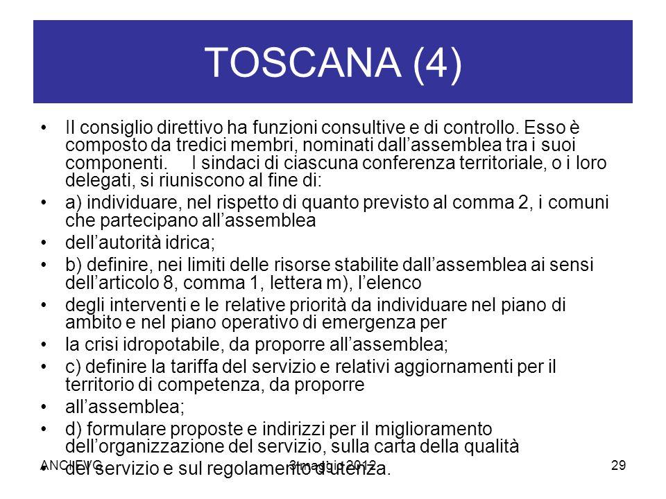 TOSCANA (4) Il consiglio direttivo ha funzioni consultive e di controllo.