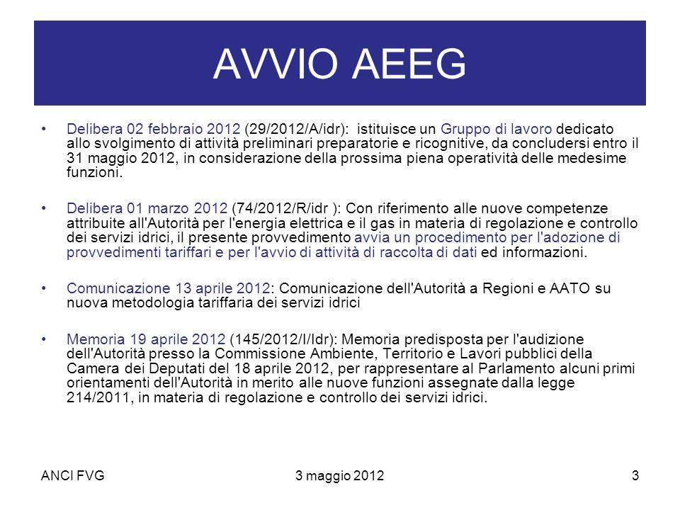 ANCI FVG3 maggio 20123 AVVIO AEEG Delibera 02 febbraio 2012 (29/2012/A/idr): istituisce un Gruppo di lavoro dedicato allo svolgimento di attività preliminari preparatorie e ricognitive, da concludersi entro il 31 maggio 2012, in considerazione della prossima piena operatività delle medesime funzioni.