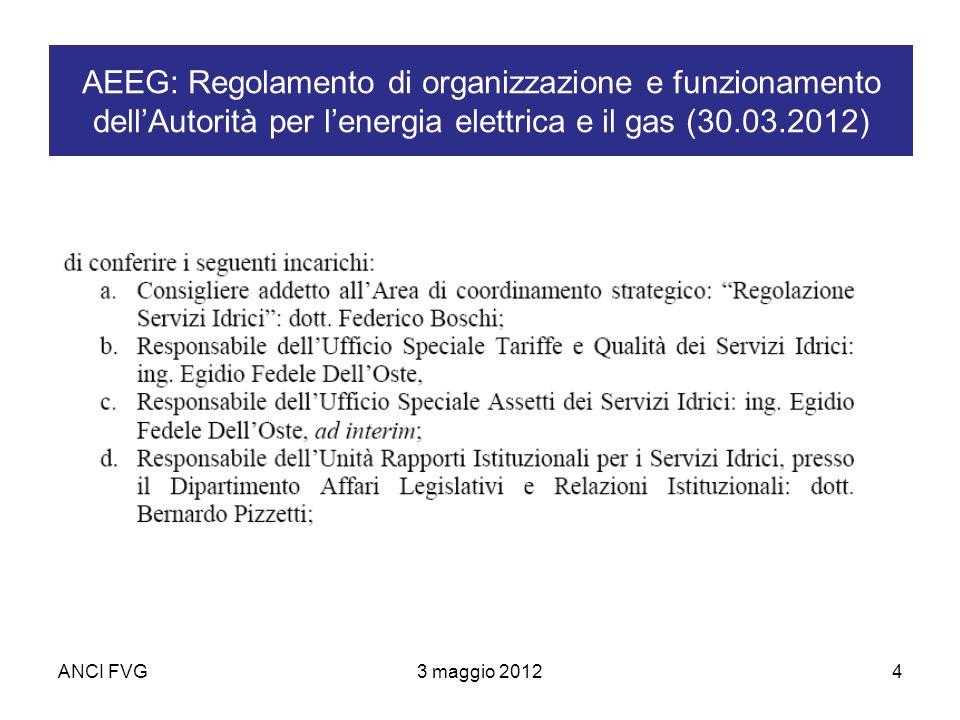 ANCI FVG3 maggio 20124 AEEG: Regolamento di organizzazione e funzionamento dellAutorità per lenergia elettrica e il gas (30.03.2012)