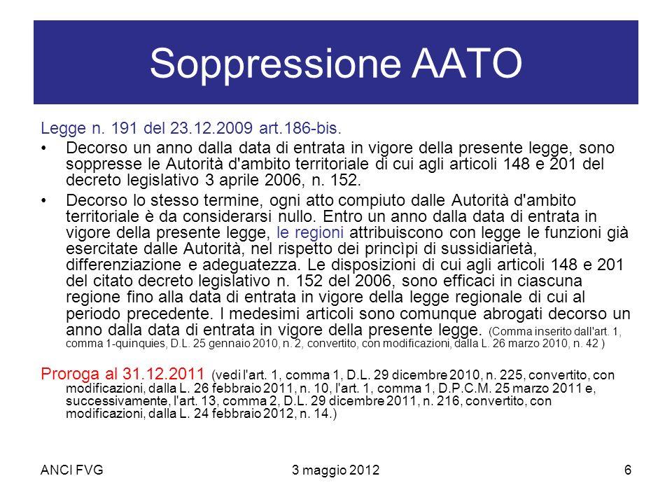ANCI FVG3 maggio 20126 Soppressione AATO Legge n. 191 del 23.12.2009 art.186-bis.