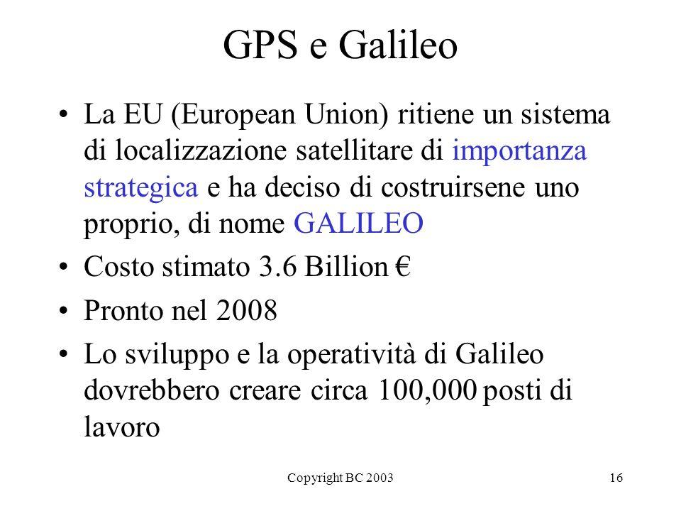 Copyright BC 200316 GPS e Galileo La EU (European Union) ritiene un sistema di localizzazione satellitare di importanza strategica e ha deciso di cost