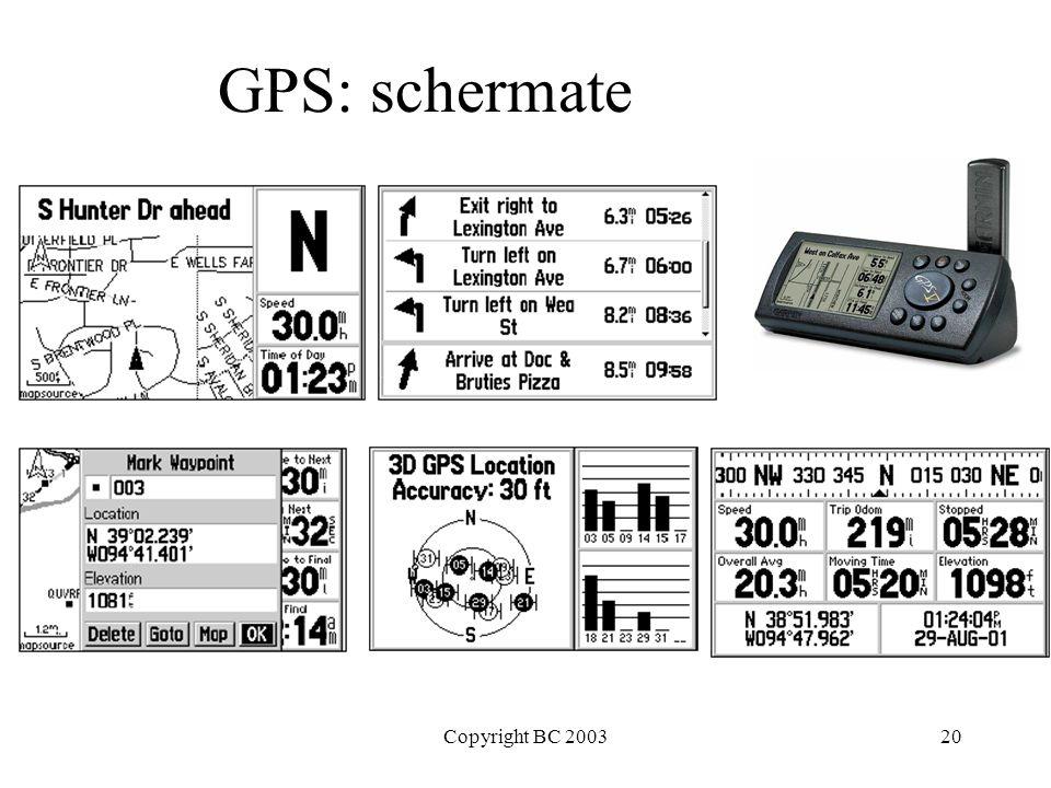 Copyright BC 200320 GPS: schermate