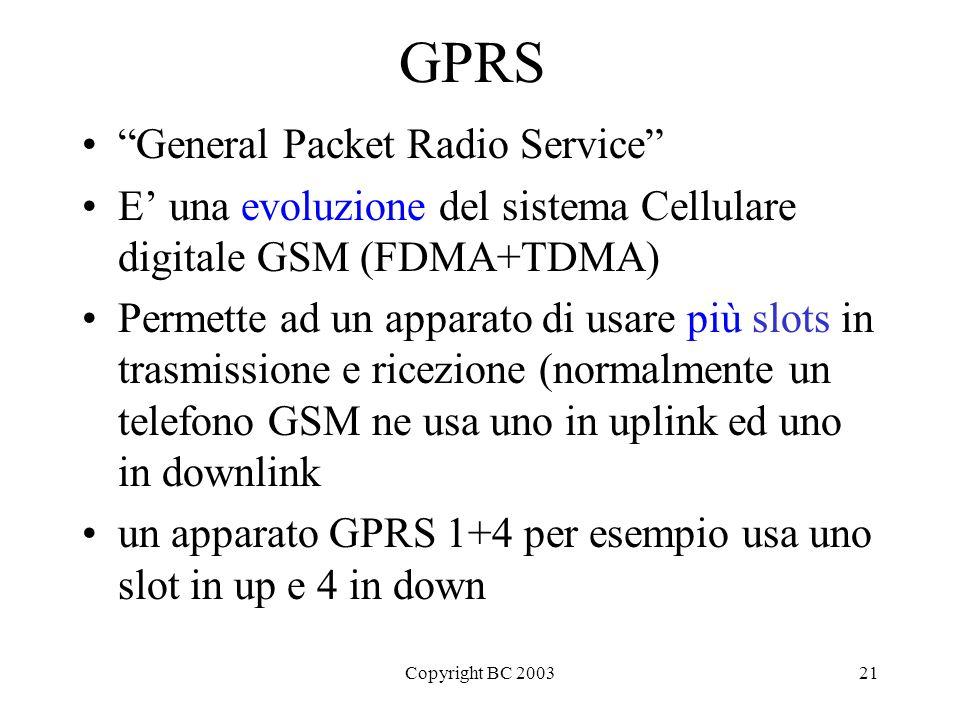 Copyright BC 200321 GPRS General Packet Radio Service E una evoluzione del sistema Cellulare digitale GSM (FDMA+TDMA) Permette ad un apparato di usare