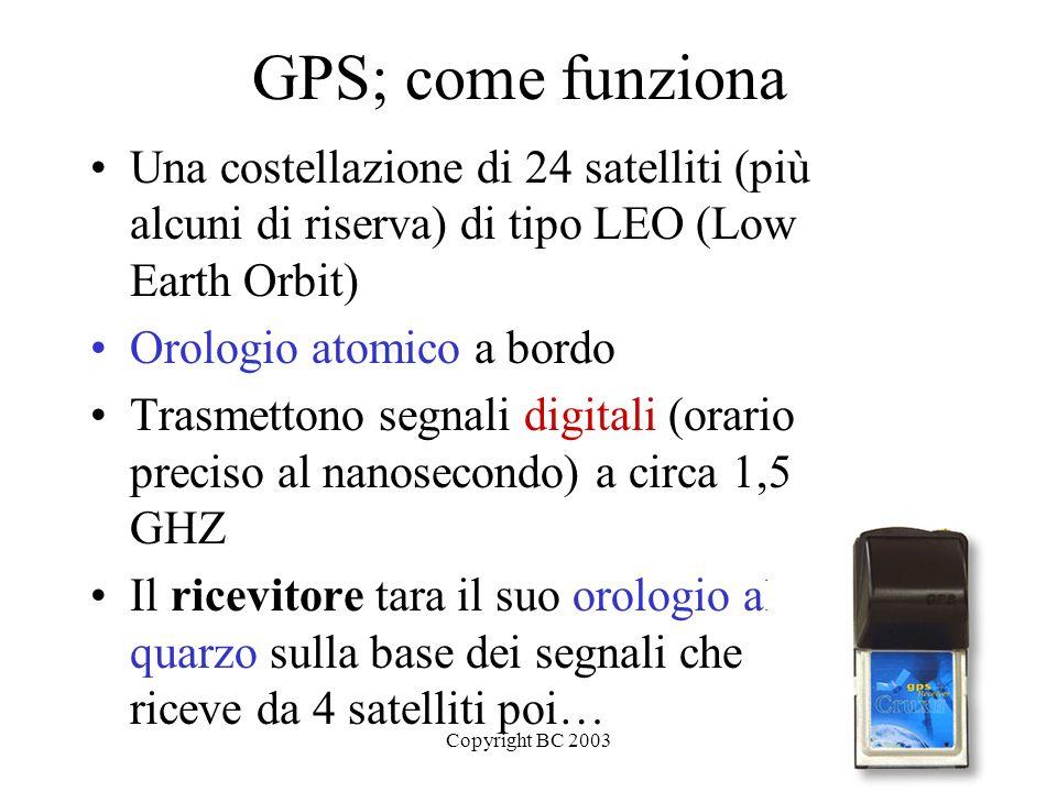 Copyright BC 20034 GPS; come funziona Una costellazione di 24 satelliti (più alcuni di riserva) di tipo LEO (Low Earth Orbit) Orologio atomico a bordo