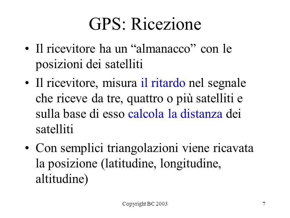 Copyright BC 20037 GPS: Ricezione Il ricevitore ha un almanacco con le posizioni dei satelliti Il ricevitore, misura il ritardo nel segnale che riceve