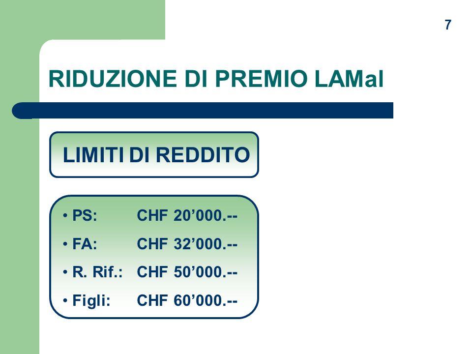 7 RIDUZIONE DI PREMIO LAMal LIMITI DI REDDITO PS: CHF 20000.-- FA: CHF 32000.-- R. Rif.: CHF 50000.-- Figli: CHF 60000.--